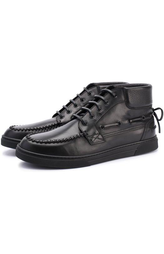 Высокие кожаные кеды на шнуровке Saint Laurent