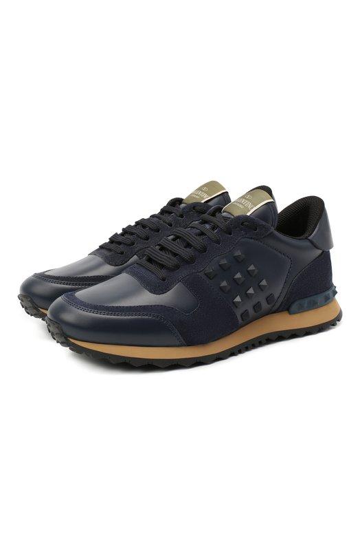 Кожаные кроссовки Valentino Garavani Rockrunner с замшевой отделкой Valentino
