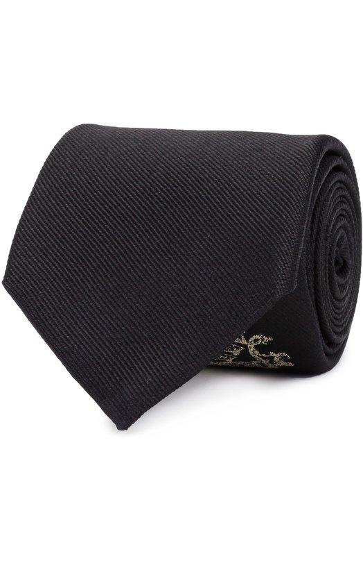 Шелковый галстук с вышивкой Alexander McQueen 473840/4A05E