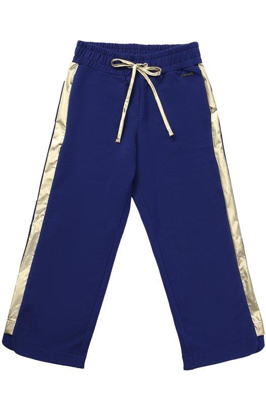 Спортивные брюки прямого кроя с металлизированными лампасами Simonetta 1G6071/GX180/7-10