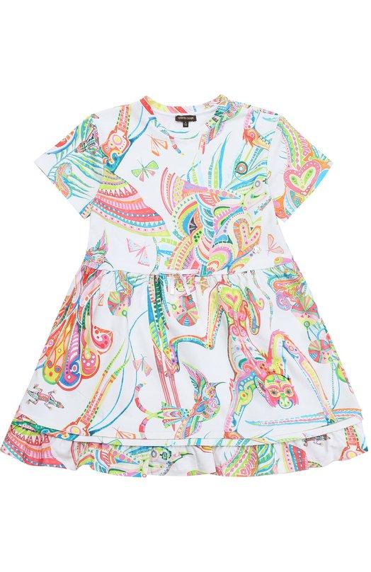 Платье из эластичного хлопка с ярким принтом и оборкой Roberto Cavalli 7G1221/GA660/7-10