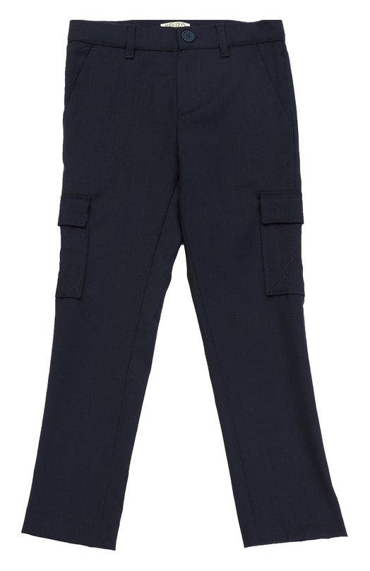 Шерстяные брюки прямого кроя с накладными карманами Kenzo KJ22518/2A-6A