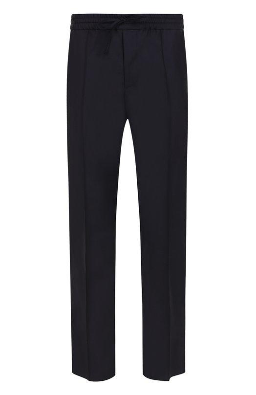 Шерстяные брюки прямого кроя с лампасами Valentino. Цвет: темно-синий