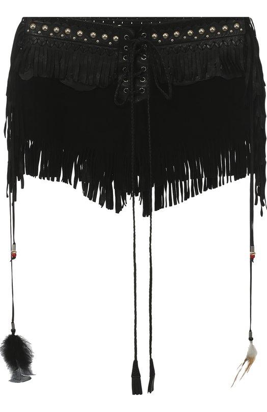 Замшевые мини-шорты с кожаной бахромой Roberto Cavalli EWP225/PN178