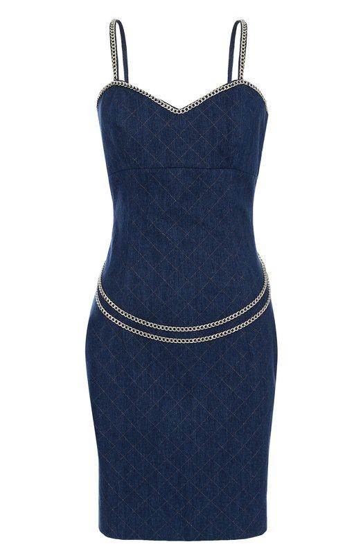 Приталенное джинсовое платье с металлизированной отделкой Philipp Plein P17C WDG0015 PDE001N