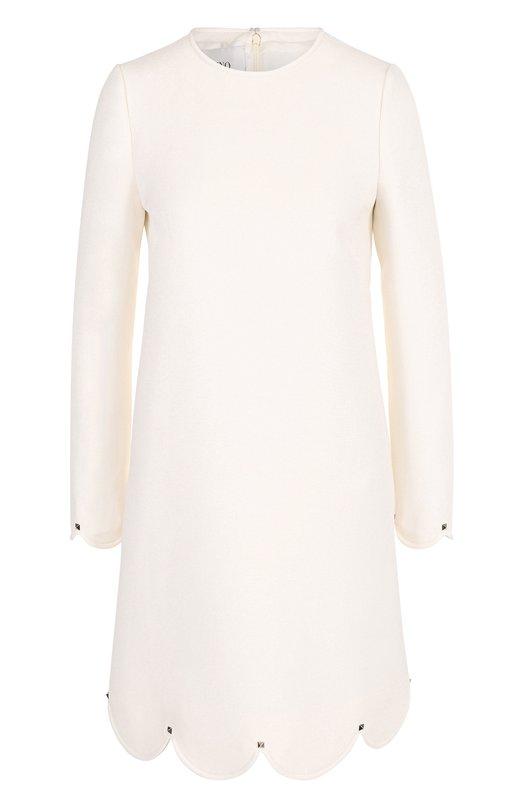 Купить Мини-платье с длинным рукавом и фестонами Valentino, NB2VADD7/1CF, Италия, Белый, Шерсть: 65%; Шелк: 35%; Подкладка-шелк: 100%;