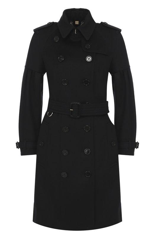 Приталенное двубортное пальто с поясом и погонами Burberry 4043879