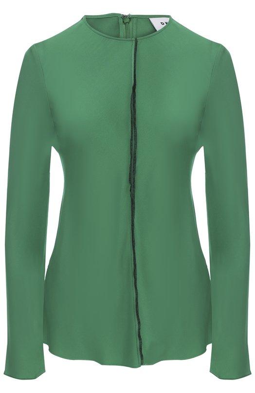 Шелковая блуза прямого кроя с круглым вырезом DKNY P4622422WA