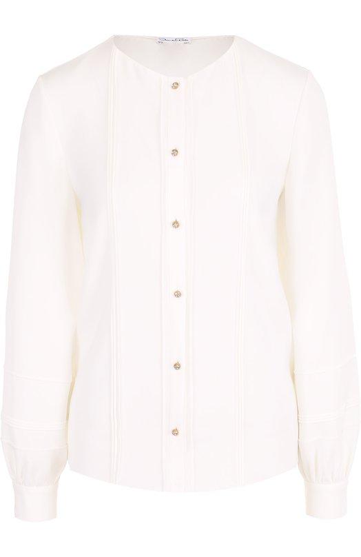 Шелковая блуза прямого кроя с круглым вырезом Oscar de la Renta P17N753