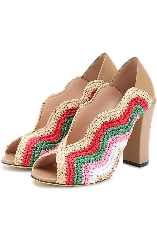 Комбинированные туфли с фигурным вырезом Fendi 8K6492/SP4