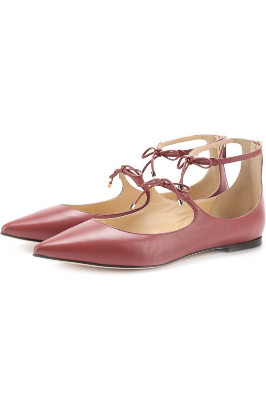 Кожаные балетки Sage на шнуровке Jimmy Choo SAGE FLAT/KID
