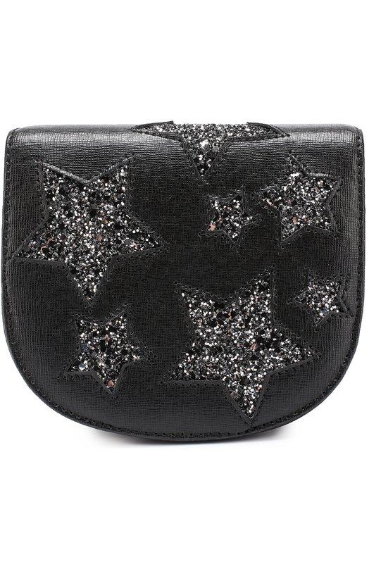 Кожаная сумка с глиттером Roberto Cavalli 7G0018/GX050