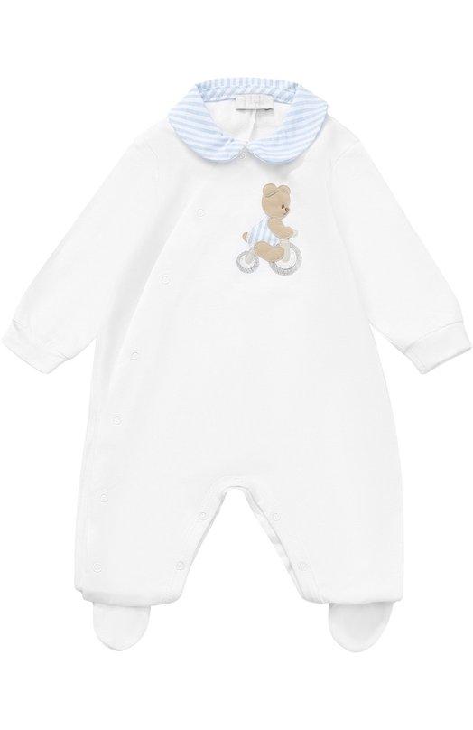 Купить Хлопковый комплект из пижамы с аппликацией и шапки Il Gufo, P17PK010/M0032, Италия, Голубой, Хлопок: 94%; Эластан: 6%;