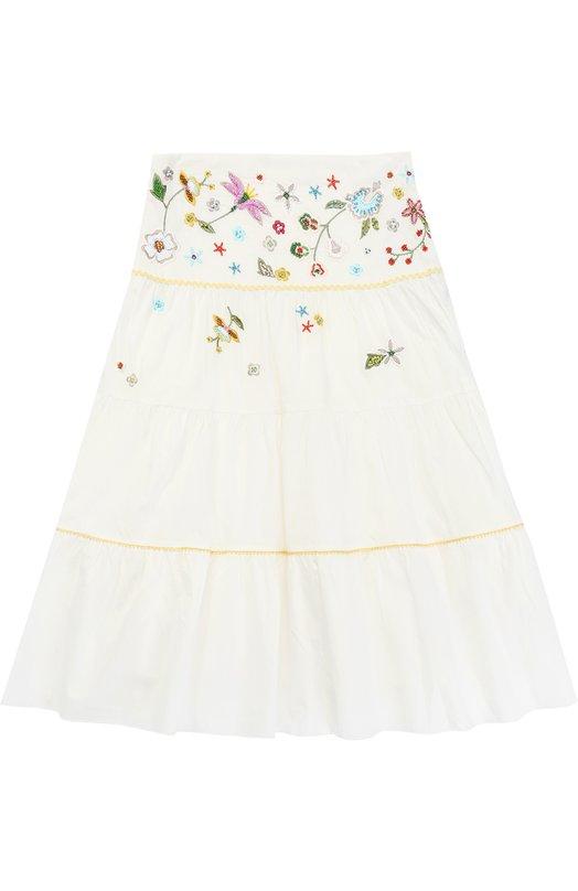 Хлопковая юбка свободного кроя с вышивкой и бисером Ermanno Scervino 40I/GN07/4-8