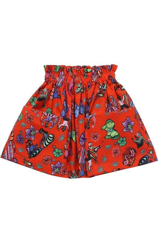 Хлопковая юбка с принтом и накладными карманами Stella Jean JB094/ECLISSI/8A-14A