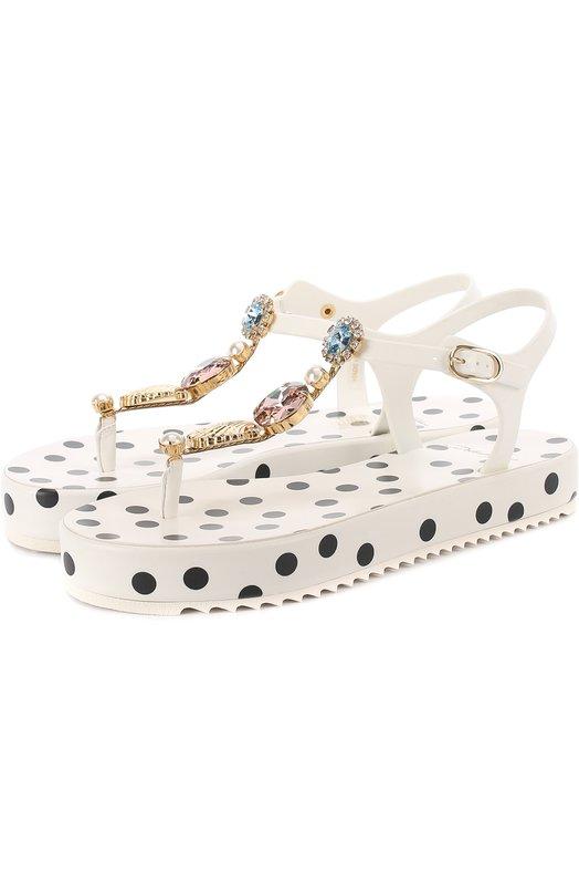 Резиновые сандалии с кристаллами Dolce & Gabbana 0112/CW0035/AG135