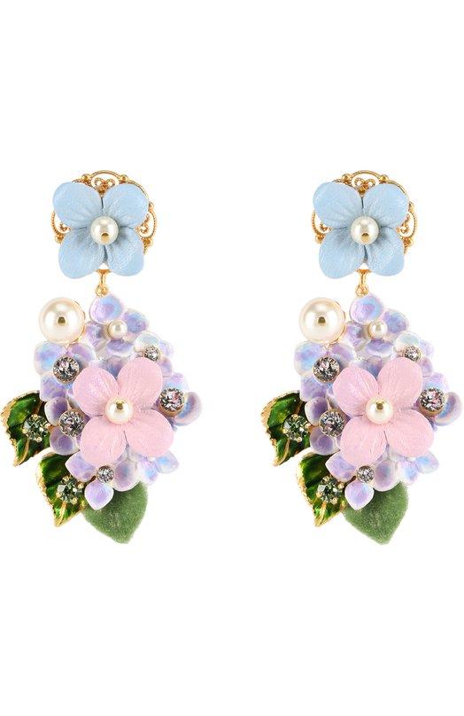 Серьги-клипсы с цветочным декором и кристаллами Swarovski Dolce & Gabbana 0136/WEJ6F5/W1111