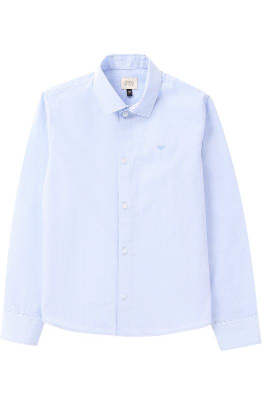 Хлопковая рубашка с логотипом бренда Giorgio Armani 3Y4C08/4NDXZ/4A-10A