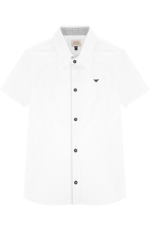 Хлопковая рубашка с логотипом бренда и коротким рукавом Giorgio Armani 3Y4C15/4N18Z/11A-16A