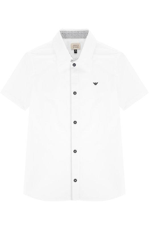 Хлопковая рубашка с логотипом бренда и коротким рукавом Giorgio Armani 3Y4C15/4N18Z/4A-10A