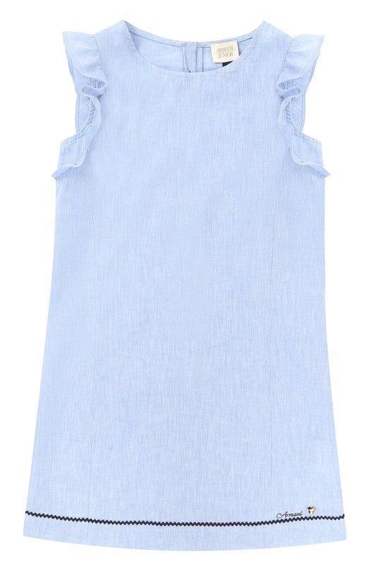 Льняное платье прямого кроя с оборками и контрастной отделкой Giorgio Armani 3Y3A14/3NCGZ/4A-10A