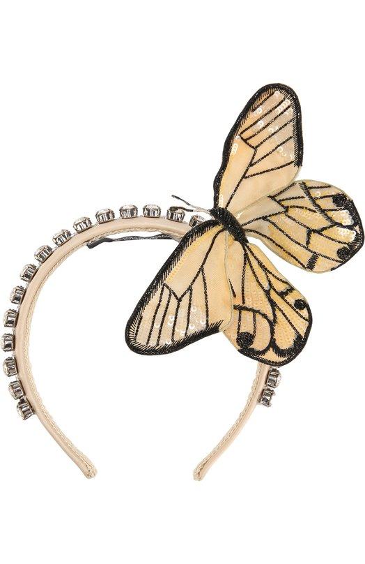 Ободок с декоративной отделкой в виде бабочки Dolce & Gabbana 0136/FY227Z/GDARA