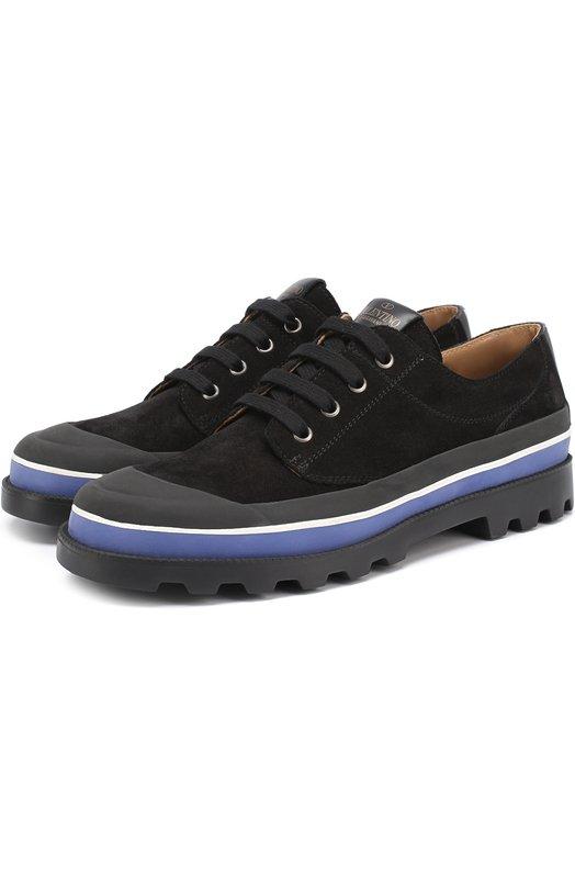 Замшевые ботинки на шнуровке с контрастной отделкой Valentino NY2S0967/UVS