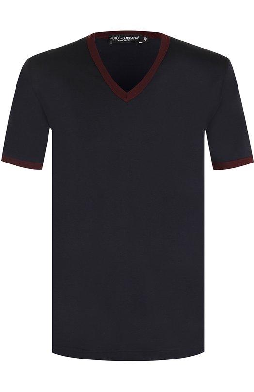 Купить Хлопковая футболка с V-образным вырезом Dolce & Gabbana, 0101/G8HL7T/G7KYM, Италия, Синий, Хлопок: 100%;