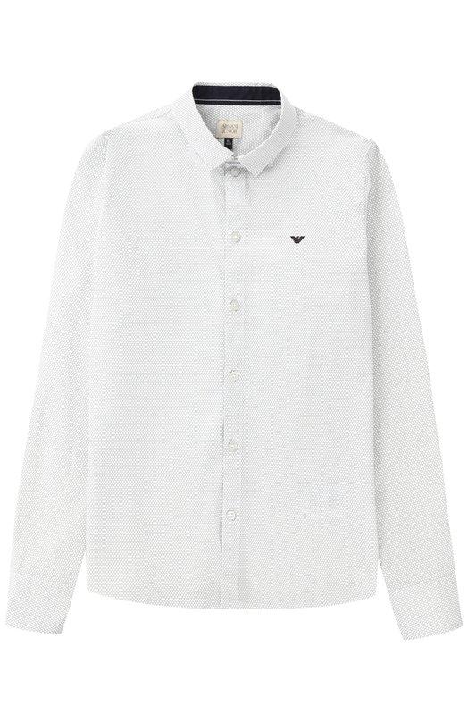 Хлопковая рубашка с логотипом бренда Giorgio Armani 3Y4C17/4NDYZ/11A-16A
