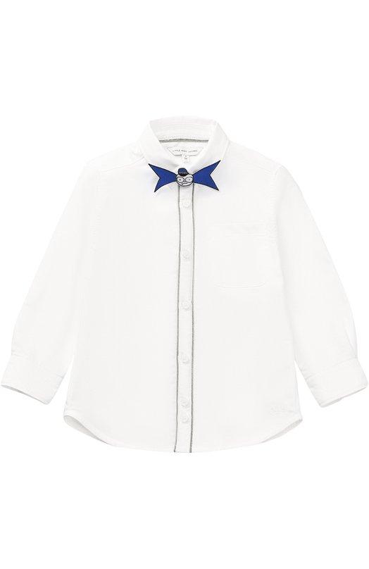 Хлопковая рубашка с декоративной бабочкой Marc Jacobs W25248/2A-5A