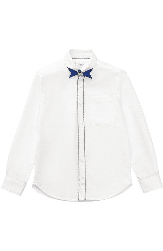 Хлопковая рубашка с декоративной бабочкой Marc Jacobs W25248/6A-12A