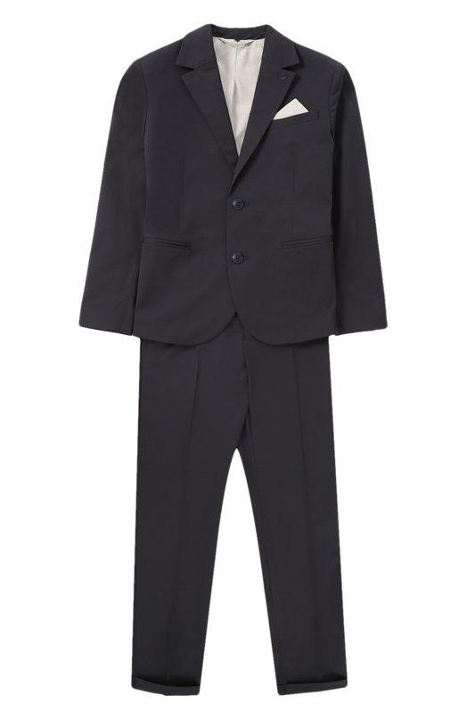 Хлопковый костюм с пиджаком на двух пуговицах Armani Junior