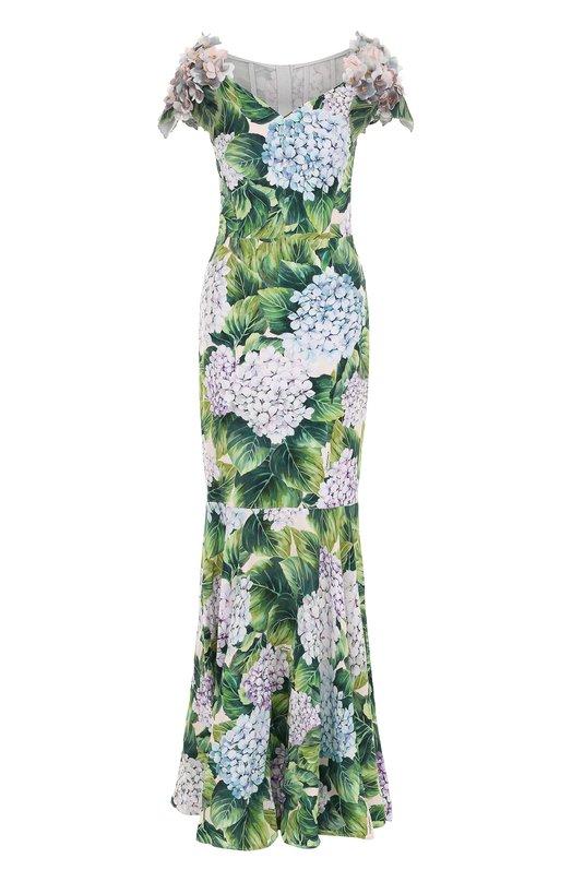 Купить Платье-макси с цветочным принтом и фактурной отделкой Dolce & Gabbana Италия 5171752 0102/F65A6Z/GDF75