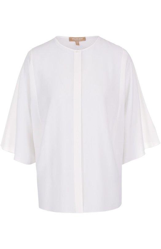 Купить Шелковая блуза с круглым вырезом и укороченным рукавом Michael Kors Италия 5171783 KPJ/325AKJ052A