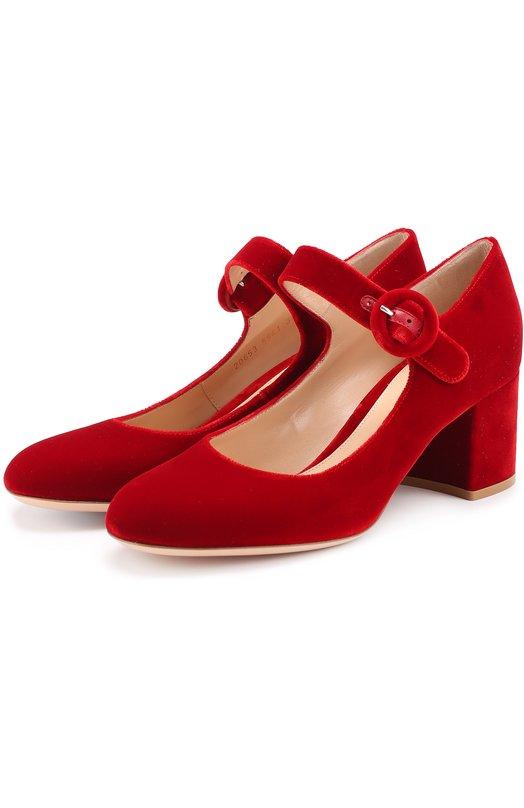 Бархатные туфли с ремешком Gianvito Rossi