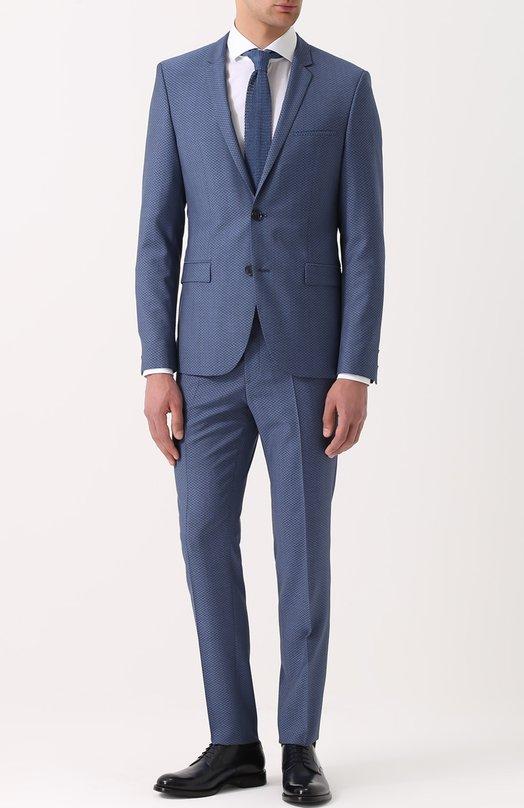 Шерстяной приталенный костюм HUGO 50332619