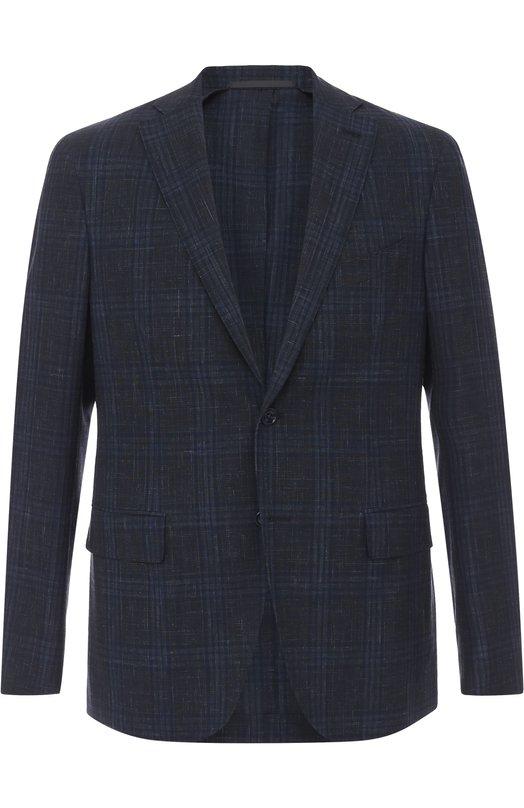 Купить Однобортный пиджак в клетку из смеси шерсти и льна Pal Zileri, 93610/32U/GCU/2, Италия, Темно-синий, Шерсть: 90%; Лен: 10%;
