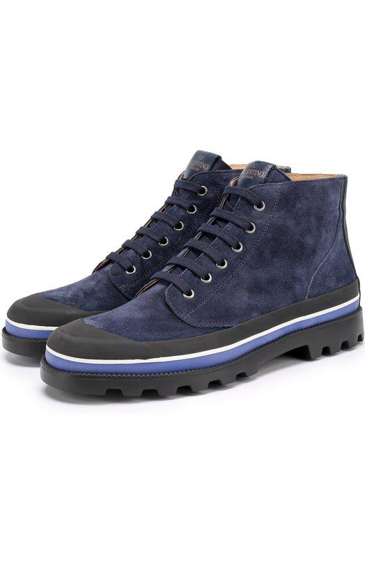 Высокие замшевые ботинки на шнуровке с контрастной отделкой Valentino