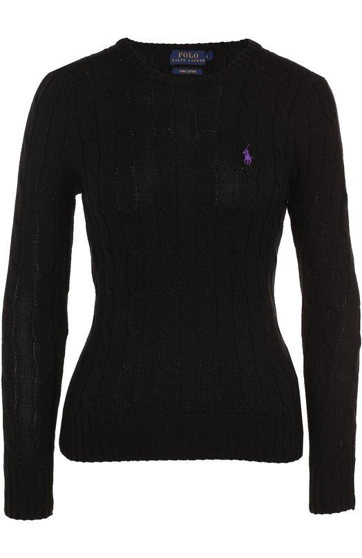 Купить Пуловер фактурной вязки с логотипом бренда Polo Ralph Lauren, 211580009, Китай, Черный, Хлопок: 100%;
