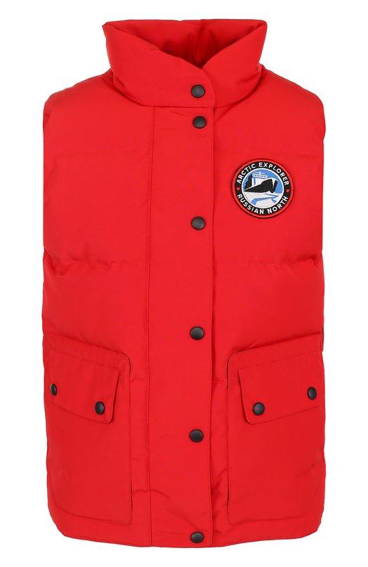 Пуховой стеганый жилет с логотипом бренда Arctic Explorer