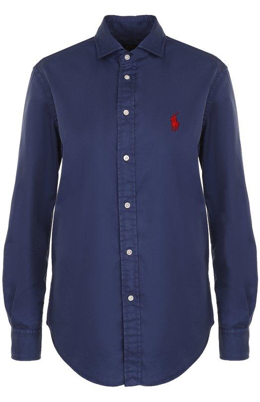 Купить Блуза прямого кроя с логотипом бренда Polo Ralph Lauren, 211643143, Китай, Темно-синий, Хлопок: 100%;