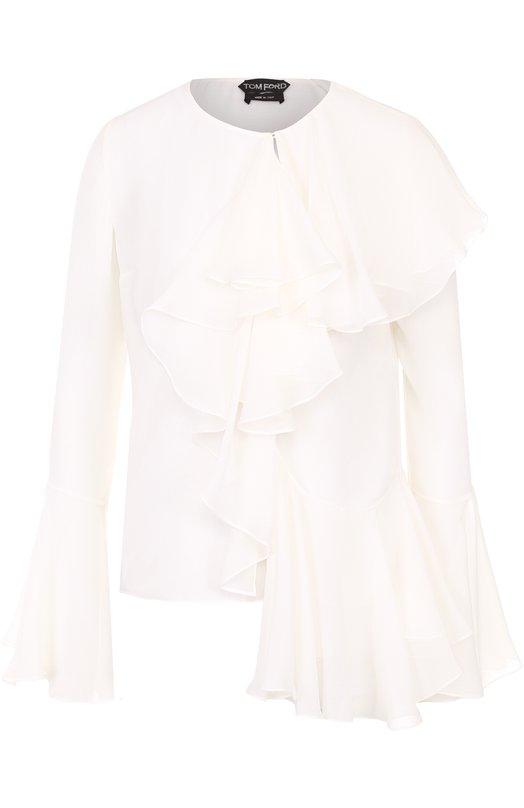 Купить Шелковая блуза с круглым вырезом и оборками Tom Ford Италия 5173328 TS1613-FAX058