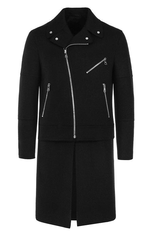 Купить Шерстяное однобортное пальто с отстегивающимся подолом Neil Barrett, PBCA191Z/F006, Италия, Черный, Шерсть: 80%; Подкладка-купра: 60%; Подкладка-эластан: 6%; Подкладка-вискоза: 34%; Полиамид: 20%;