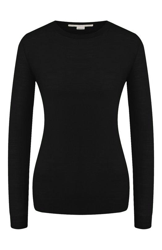 Купить Шерстяной пуловер прямого кроя с круглым вырезом Stella McCartney, 322182/S1735, Италия, Черный, Шерсть: 100%;