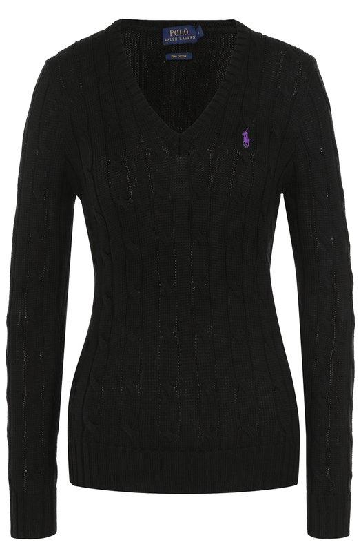 Купить Пуловер фактурной вязки с логотипом бренда Polo Ralph Lauren, 211580008, Китай, Черный, Хлопок: 100%;