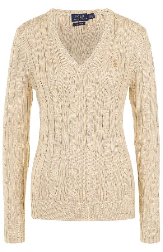 Купить Пуловер фактурной вязки с логотипом бренда Polo Ralph Lauren, 211580008, Китай, Бежевый, Хлопок: 100%;