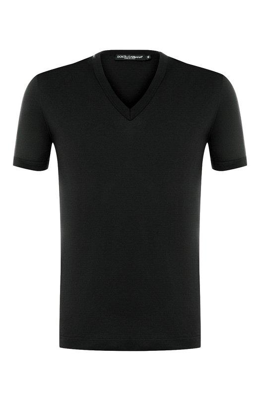 Купить Хлопковая футболка с V-образным вырезом Dolce & Gabbana, 0101/G8HL7T/FU7EQ, Италия, Синий, Хлопок: 100%;