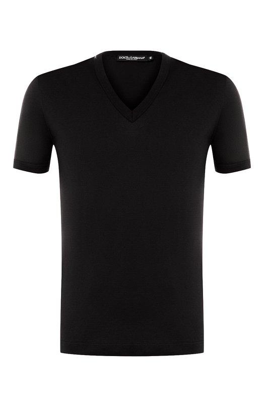 Купить Хлопковая футболка с V-образным вырезом Dolce & Gabbana, 0101/G8HL7T/FU7EQ, Италия, Черный, Хлопок: 100%;