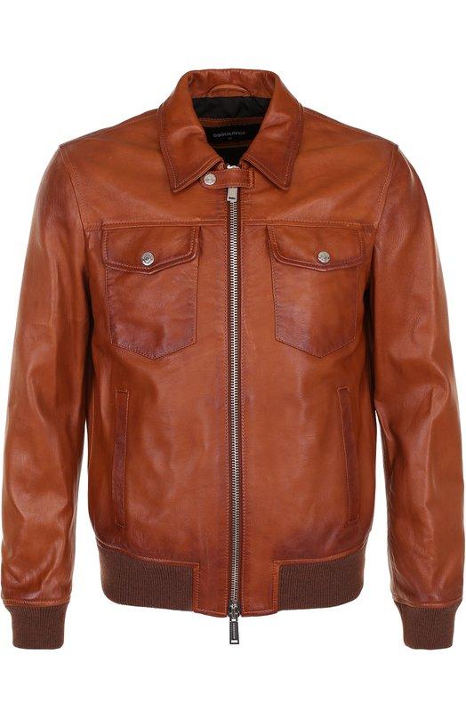 Кожаная куртка на молнии с отложным воротником Dsquared2 S74AM0757/SX9861