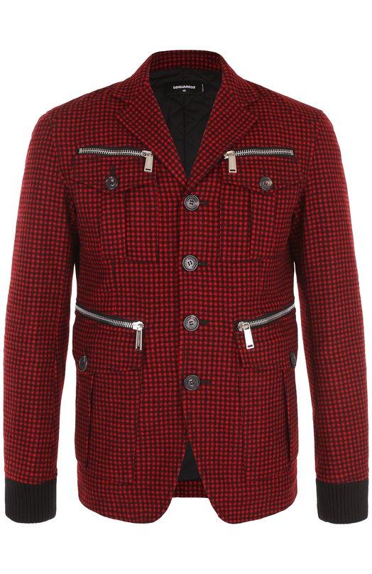 Шерстяная куртка на пуговицах с отложным воротником Dsquared2 S74BN0744/S47861